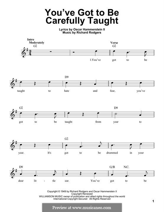 You've Got to Be Carefully Taught: Melody line by Richard Rodgers