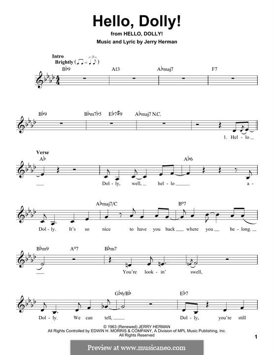 Hello Dolly (Louis Armstrong): Melody line by Jerry Herman