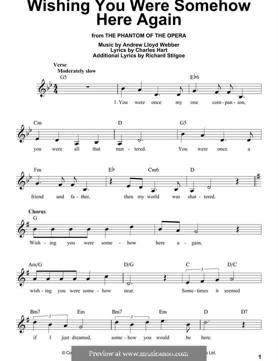 Wishing You Were Somehow Here Again: Melody line by Andrew Lloyd Webber
