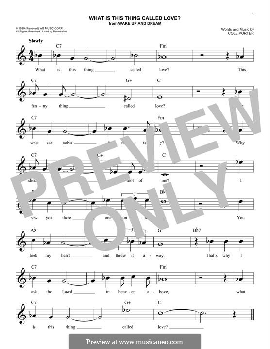 What Is This Thing Called Love?: Melody line by Cole Porter