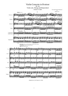Concerto for Violin and Strings in B Minor, RV 384: Score, parts by Antonio Vivaldi