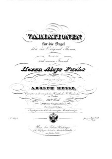Variations on an Original Theme for Organ, Op.34: Variations on an Original Theme for Organ by Adolf Friedrich Hesse