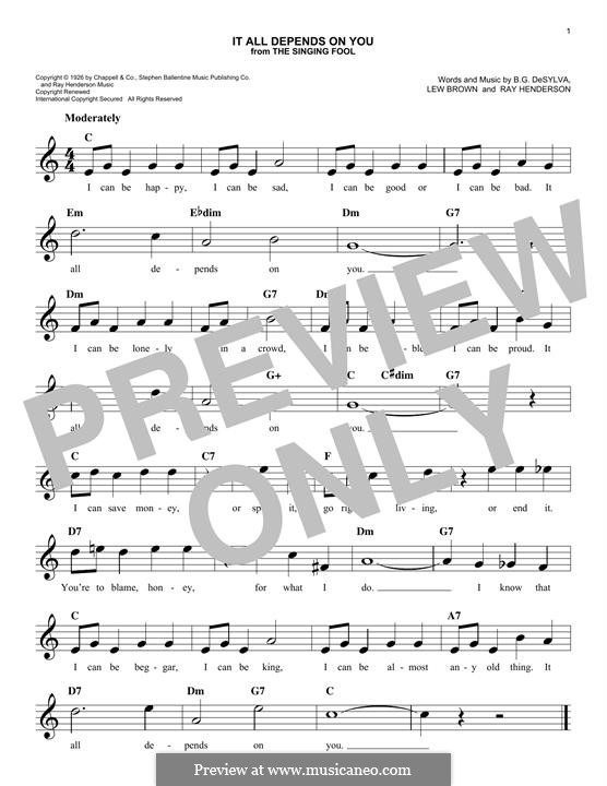 It All Depends on You (Al Jolson): Melody line by Ray Henderson