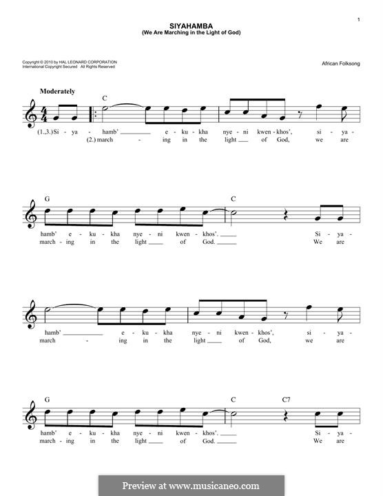 Siyahamba (We are Marching in the Light of God): Melody line by folklore
