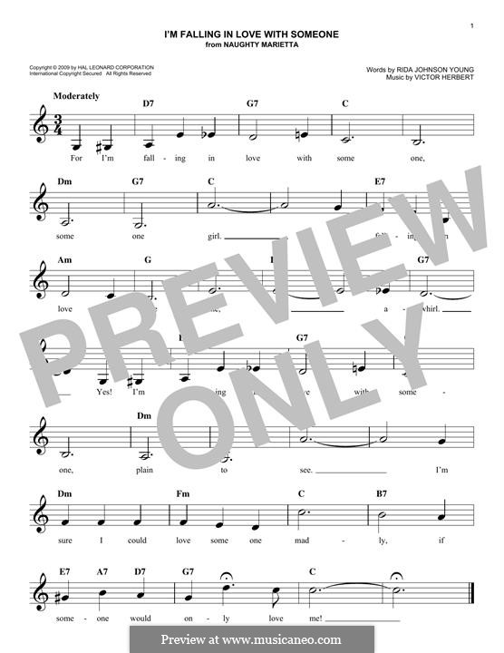 I'm Falling in Love with Someone: Melody line by Victor Herbert