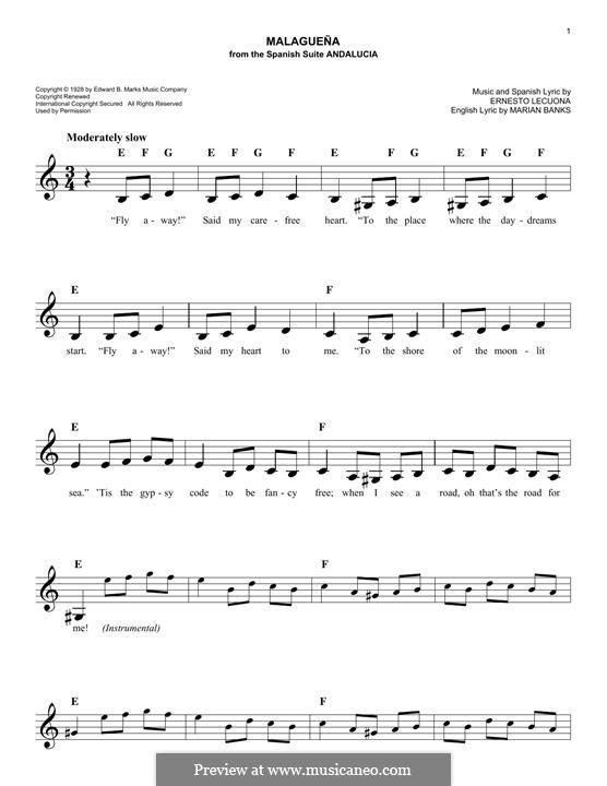 Malaguena: Melody line by Ernesto Lecuona