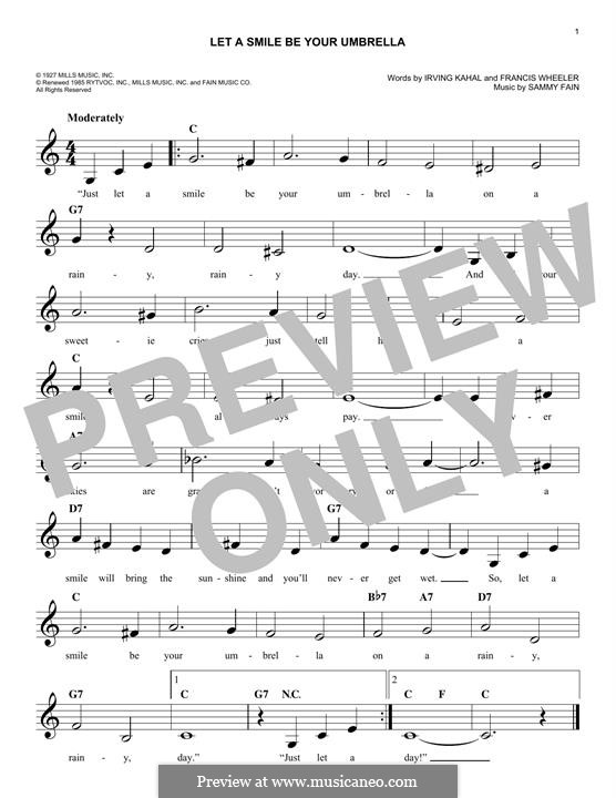 Let a Smile Be Your Umbrella: Melody line by Francis Wheeler, Sammy Fain