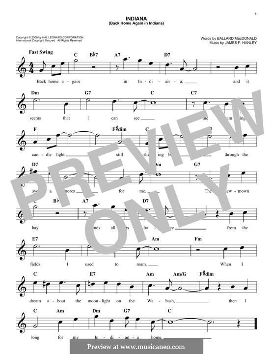 Indiana (Back Home Again in Indiana): Melody line by James Frederick Hanley
