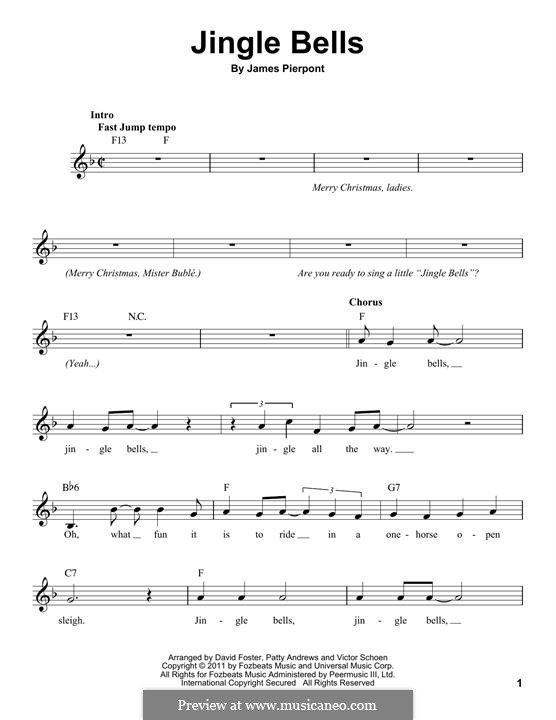 Jingle Bells (Printable scores): Melody line by James Lord Pierpont
