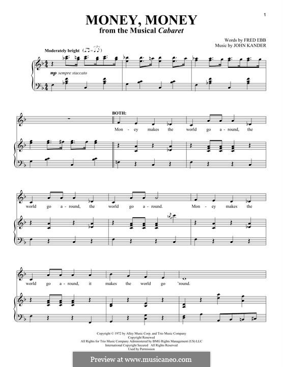Money, Money (Joel Grey): For voice and piano by John Kander