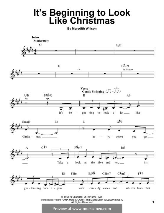 It's Beginning to Look a Lot Like Christmas (Perry Como): Melody line by Meredith Willson