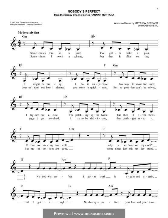 Nobody's Perfect (Hannah Montana): Melody line by Matthew Gerrard, Robbie Nevil