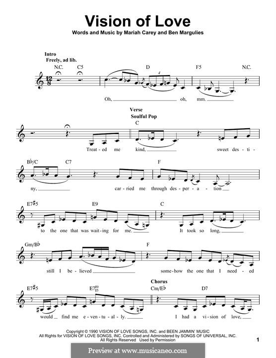 Vision of Love (Mariah Carey): Melody line by Ben Margulies