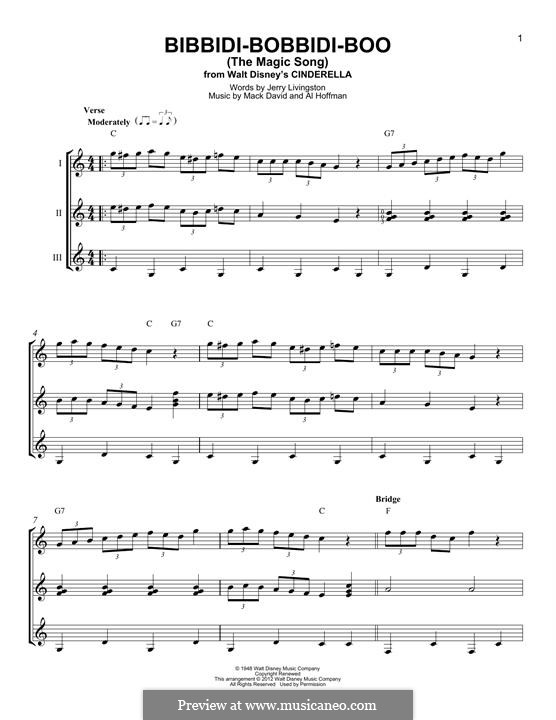 Bibbidi-Bobbidi-Boo (The Magic Song): For guitar by Al Hoffman, Mack David
