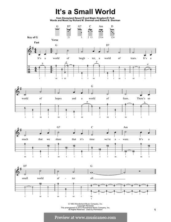 It's a Small World (from Disneyland Park and Magic Kingdom Park): For banjo by Richard M. Sherman, Robert B. Sherman