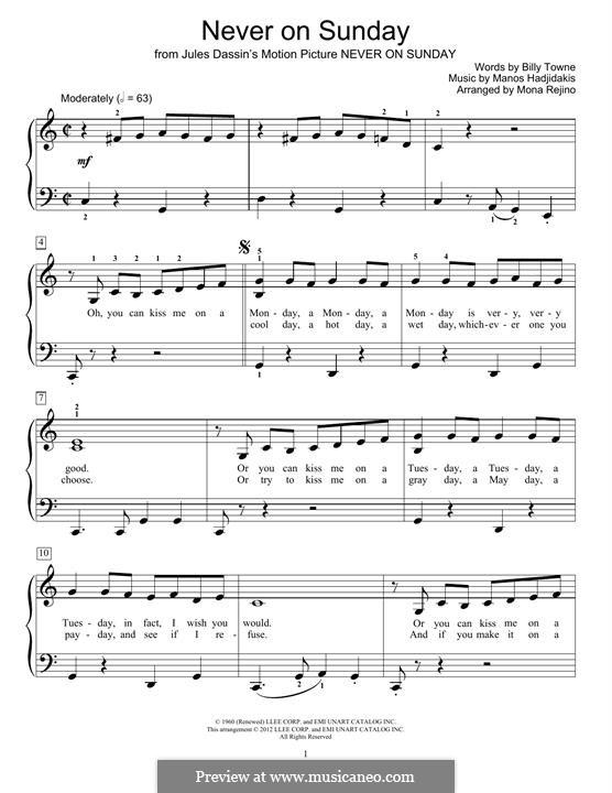 Never on Sunday: For piano by Manos Hadjidakis