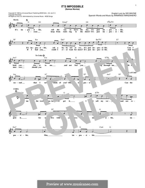It's Impossible (Somos Novios): Melody line by Armando Manzanero, Sid Wayne