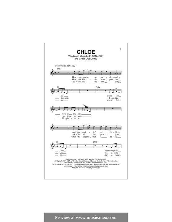 Chloe: Melody line by Elton John, Gary Osborne