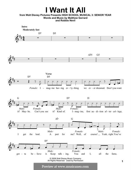 I Want It All (from High School Musical 3): Melody line by Matthew Gerrard, Robbie Nevil