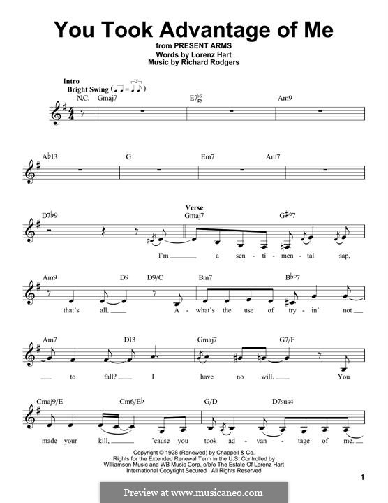You Took Advantage of Me: Melody line by Richard Rodgers