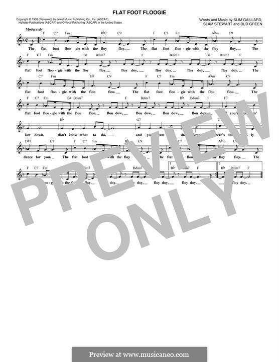 Flat Foot Floogie: Melody line by Bud Green, Slim Gaillard, Slam Stewart