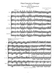 Concerto for Flute and Piano in D Major, RV 429: Score, parts by Antonio Vivaldi