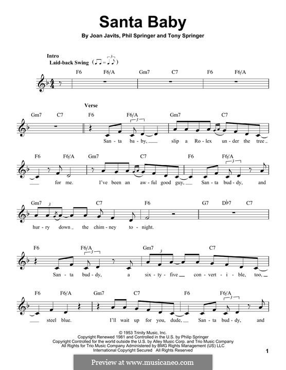Santa Baby (Eartha Kitt): Melody line by Joan Javits, Philip Springer, Tony Springer