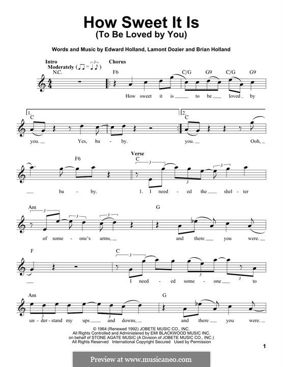 How Sweet It Is (To Be Loved By You): Melody line by Brian Holland, Edward Holland Jr., Lamont Dozier