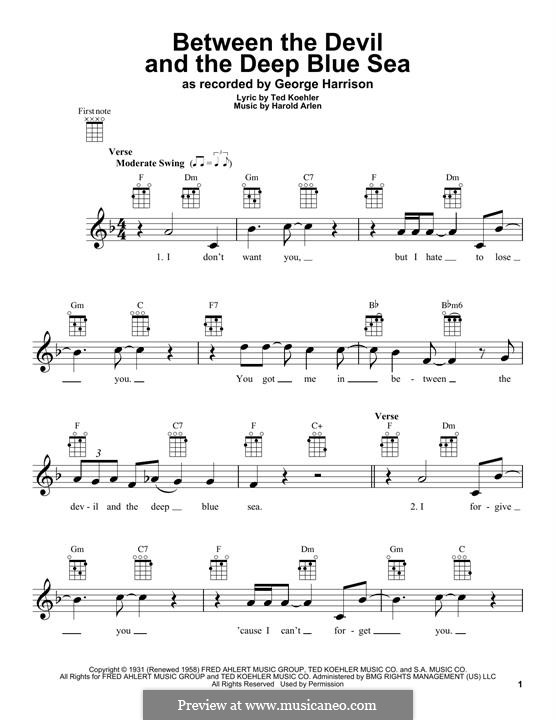 Between the Devil and the Deep Blue Sea: For ukulele by Harold Arlen