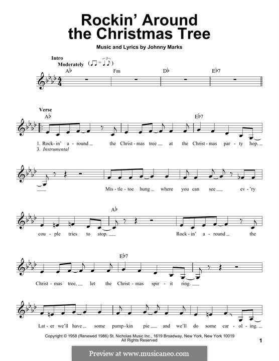 Rockin' Around the Christmas Tree: Melody line by Johnny Marks