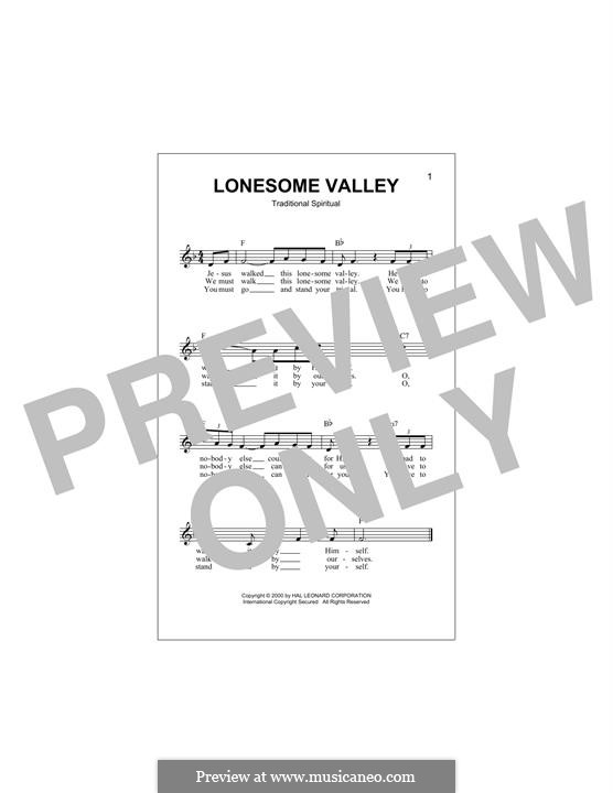Lonesome Valley: Melody line by folklore