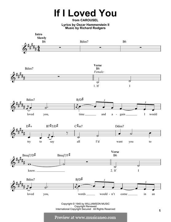 If I Loved You (from Carousel): Melody line by Richard Rodgers