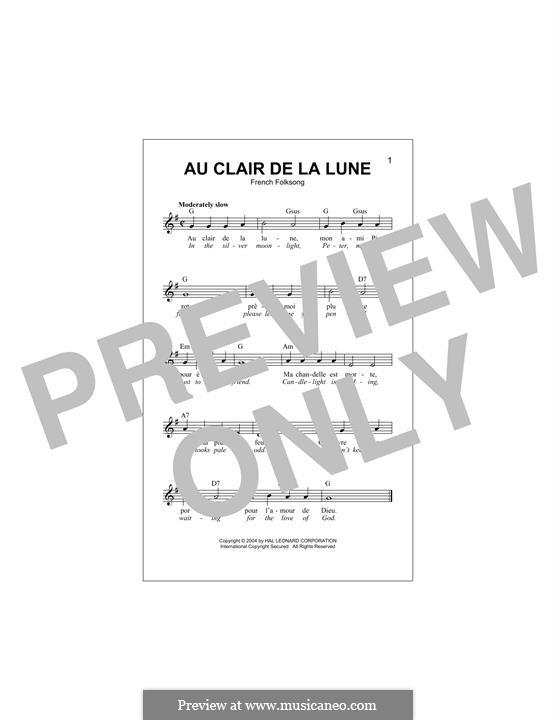 Au Claire de la Lune: Melody line by folklore