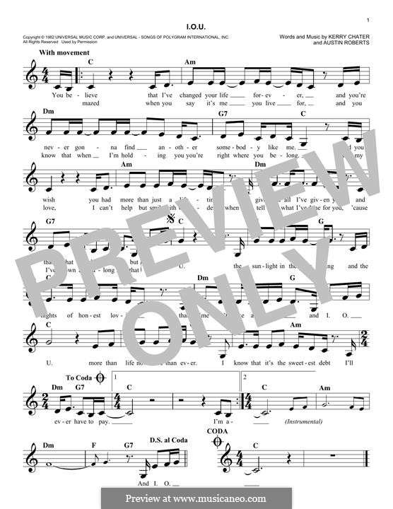 I.O.U. (Lee Greenwood): Melody line by Austin Roberts, Kerry Chater