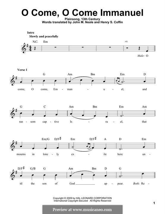 O Come, O Come, Emmanuel: Melody line by folklore