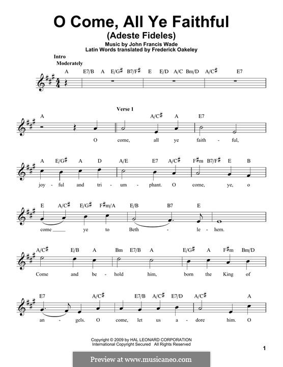 O Come, All Ye Faithful (Printable Scores): Melody line by John Francis Wade
