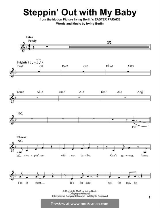 Steppin' Out with My Baby: Melody line by Irving Berlin
