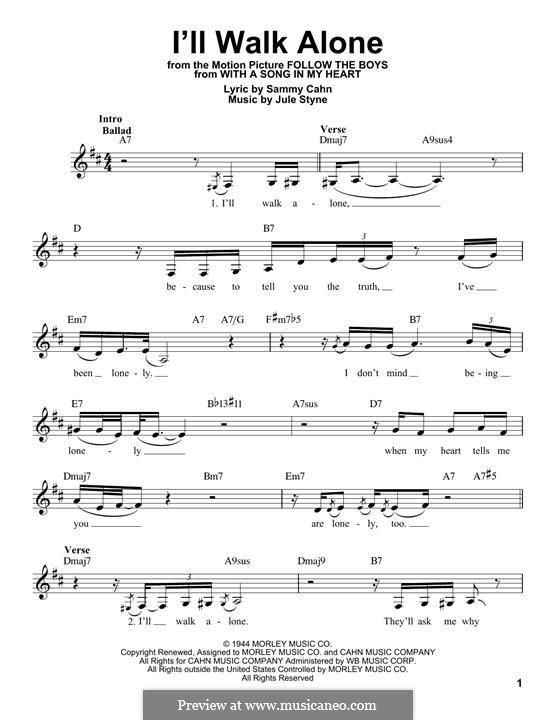 I'll Walk Alone: Melody line by Jule Styne