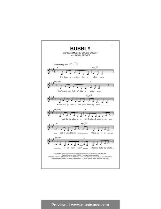 Bubbly: Melody line by Jason Reeves