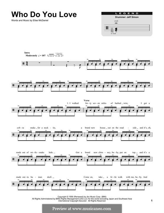 Who Do You Love by E. McDaniel - sheet music on MusicaNeo
