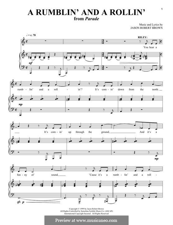 A Rumblin' and a Rollin': For voice and piano by Jason Robert Brown