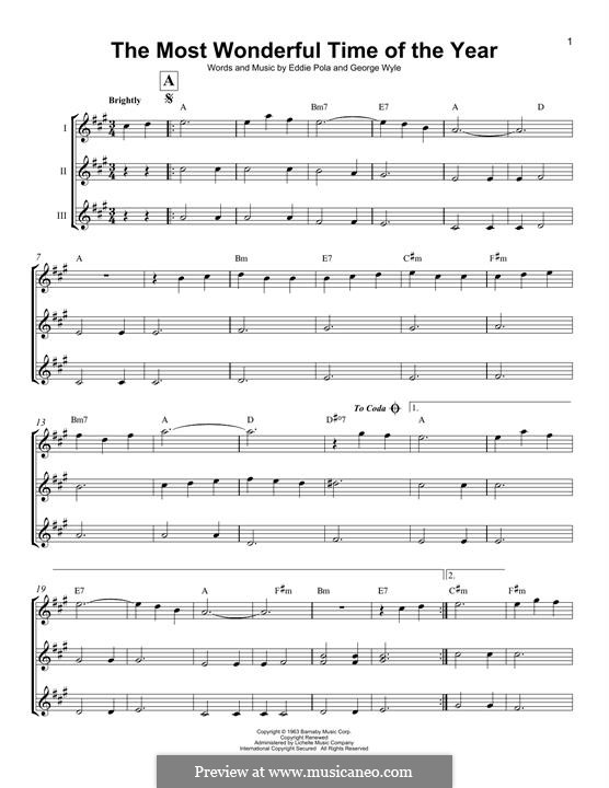 The Most Wonderful Time of the Year: For ukulele trio by George Wyle, Edward Pola