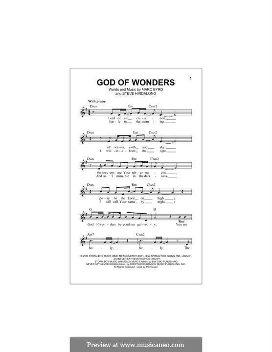 God of Wonders (Third Day): Melody line by Marc Byrd, Steve Hindalong