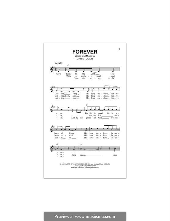 Forever: Melody line by Chris Tomlin