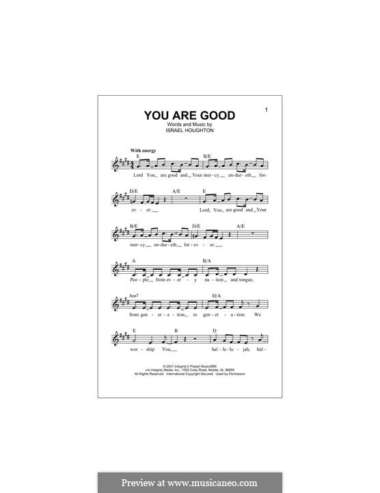 You are Good: Melody line by Israel Houghton