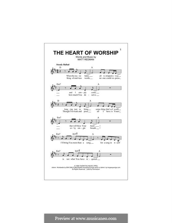 The Heart of Worship: Melody line by Matt Redman