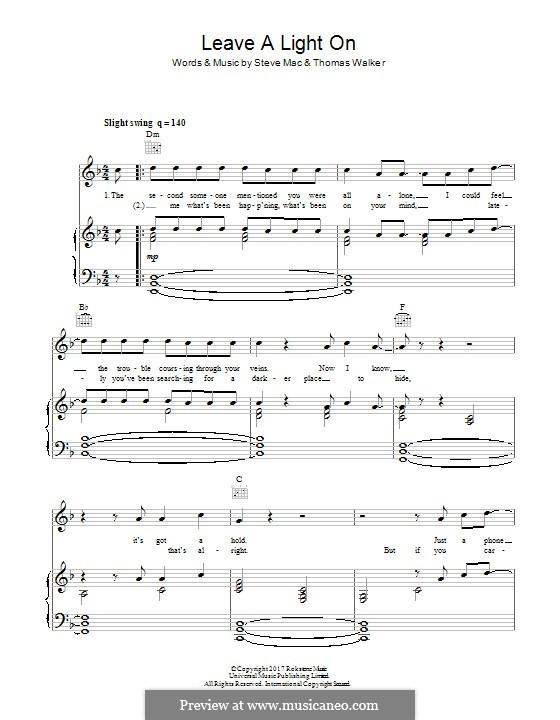 Leave a Light On: For voice and piano (or guitar) by Steve Mac, Tommy Walker