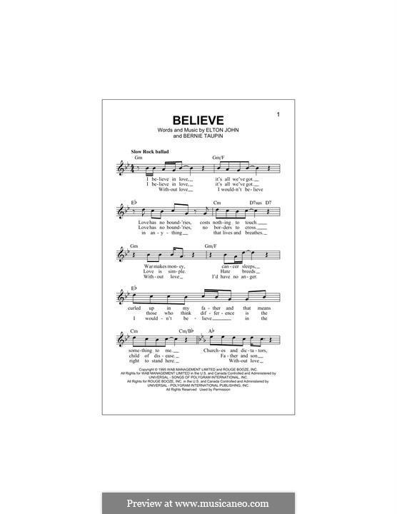 Believe: Melody line by Elton John