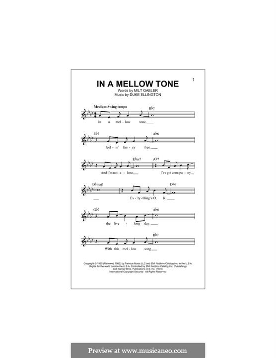 In a Mellow Tone: Melody line by Duke Ellington