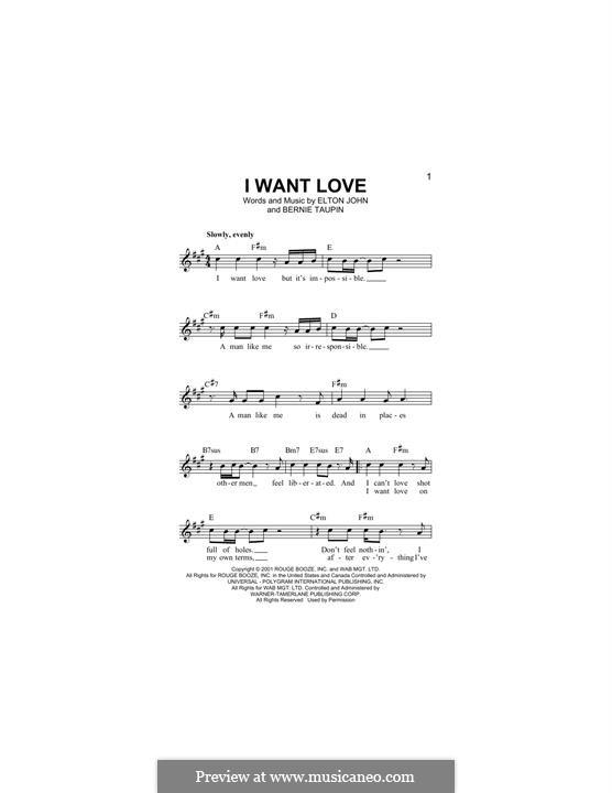 I Want Love: Melody line by Elton John